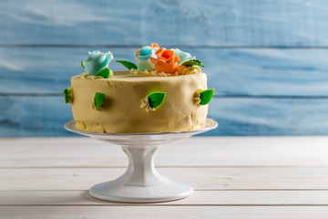 Beautiful marzipan cake with roses