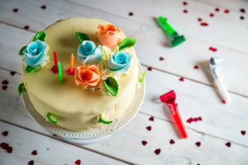 Birthday cake made of marzipan