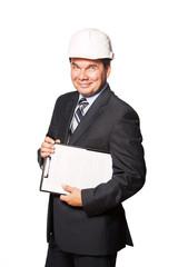 Male smiling architect in hardhat isolated on white background.