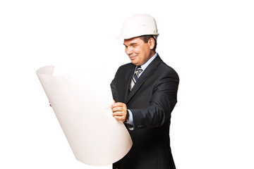 Mature smiling architect holding a building plan, isolated on a