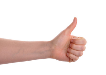 hands showing thumb up isolated over white