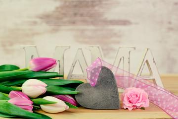 Muttertag - Herz - Tulpen