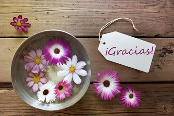 Silver Bowl With Cosmea Blossoms With Spanish Text Gracias