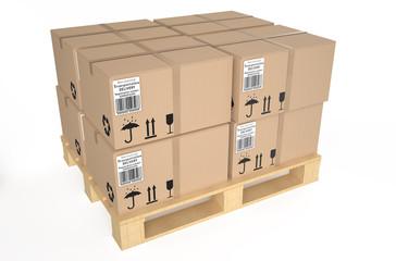 Cardboard boxes on pallet 1