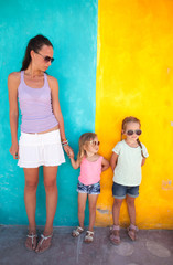 Little girl and happy mother during summer vacation