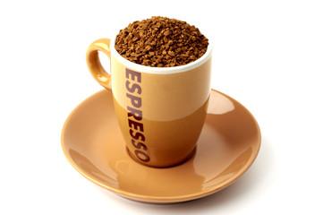 Brown elegant cup full of instant coffee granules