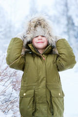 Little girl outdoors on winter