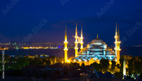Blue Mosque at sunset in Istanbul, Turkey, Sultanahmet district - 76276281