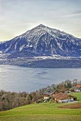 Niesen Mountain and lakeview near Thun lake in Swiss Alps in win