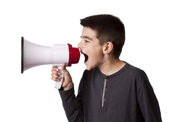 child screaming with megaphone