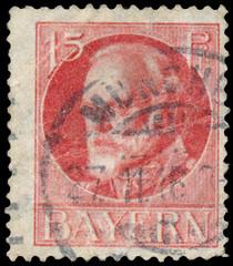 Stamp printed in Bavaria shows King Ludwig III