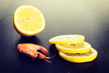 Fresh shrimps with lemon.