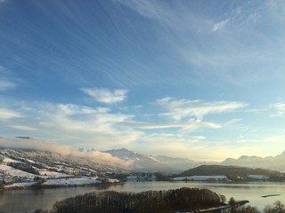 winter swiss paysage with lake and mountains