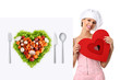 concept vegetarian diet chef woman pointing billboard salad