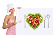 concept vegetarian diet chef woman pointing billboard salad hear