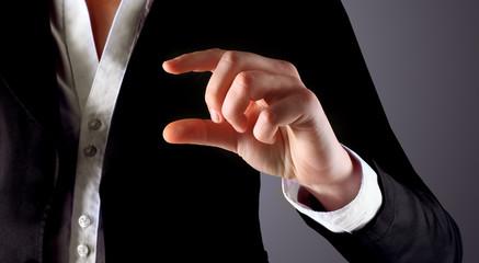 Businessman points his finger.