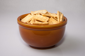 Bowl of reganas, typical andalusian breadsticks, served on rusti