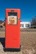 Red antique gas station in McLean town on Route 66