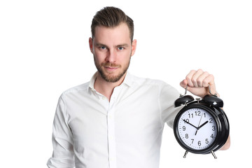 Attractive man holding a clock
