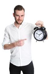 Man pointing at clock