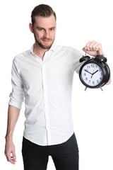 Man with clock smiling