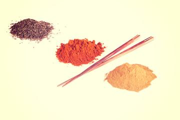 Curcuma, pepper, chili pepper spices.