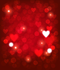 Valentine background with heart shape and lights. Vector