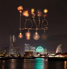 Love sparkle Fireworks celebrating over marina bay in Yokohama C