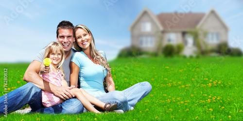 Family near new house. - 76280832