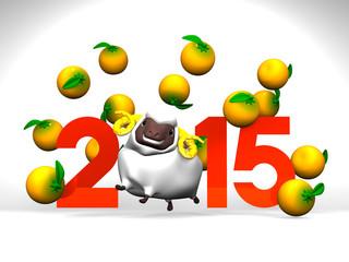 White Sheep And Oranges, 2015 On White Background