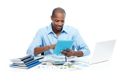 Black man working with tablet computer