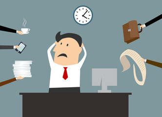 Stressed sad cartoon businessman