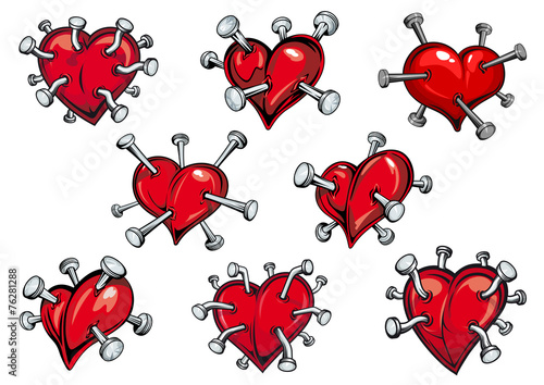 Red hearts pierced by nails
