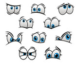 Big blue eyes in cartoon or comic style