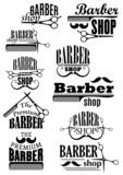 Fototapety Black vintage barber shop logo and emblems