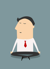 Cartoon meditating businessman character in flat style