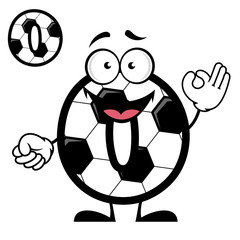 Funny cartoon number zero in football or soccer style