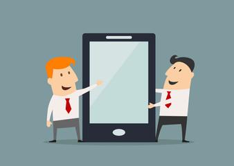 Cartoon businessmen with huge smartphone in flat style