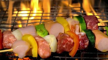 grilling meat skewers