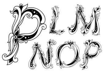 Floral outline letters P, L, M, N and O