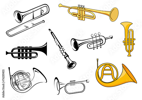 Wind instruments in sketch and cartoon style