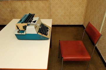 office, machine, traditional, old, desk, interior, secretariat,