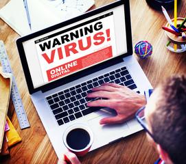 Digital Online Internet Warning Threat Virus Concept