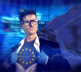 Businessman Superhero Country Europe Union Flag Culture Concept