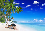 Fototapety Businessman Relaxation Vacation Working Outdoors Beach Concept