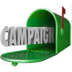 Campaign 3d Word Mailbox Deliver Direct Message Advertising Poli