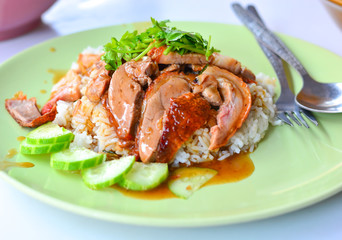 Duck grilled with Rice in Thailand Morning Food