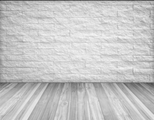 wood  vintage with white brick wall