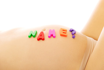 Belly of pregnant woman with name question