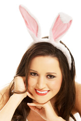 Portrait of beautiful woman wearing bunny ears